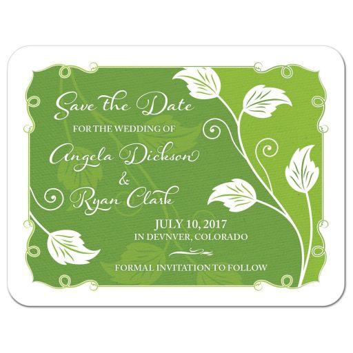 Greenery green and white leafy vine and leaves wedding save the date announcement front