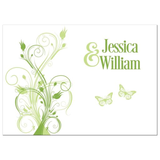 Floral Vines, Butterflies Greenery Wedding Invitation