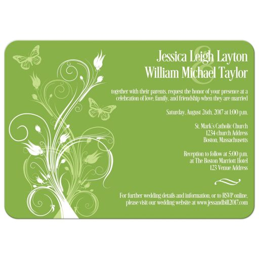 Greenery, celadon green, and white spring or summer wedding invitation with butterflies, flowers, vines, and modern typography.