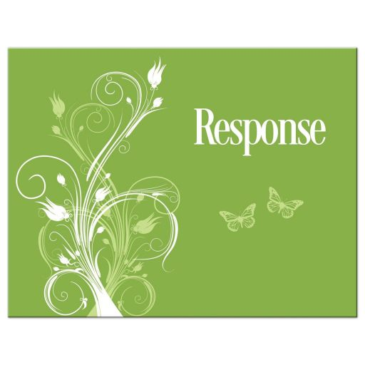Greenery, celadon green, and white spring or summer wedding response enclosure card insert with butterflies, flowers, vines, and modern typography.