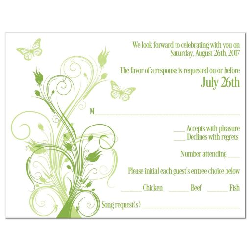Greenery, celadon green, and white spring or summer wedding RSVP enclosure card inserts with butterflies, flowers, vines, and modern typography.