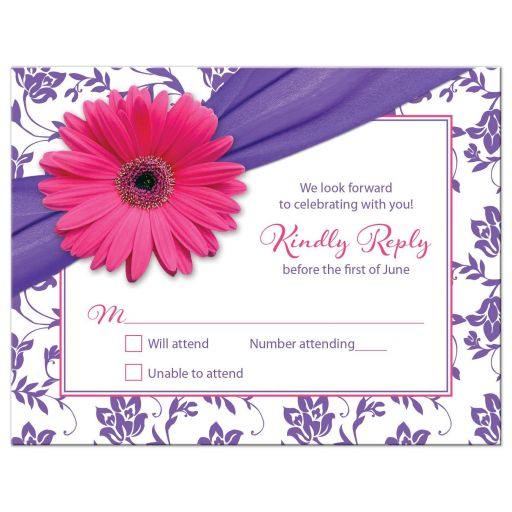 Purple Pink Daisy Damask Bat Mitzvah RSVP Card
