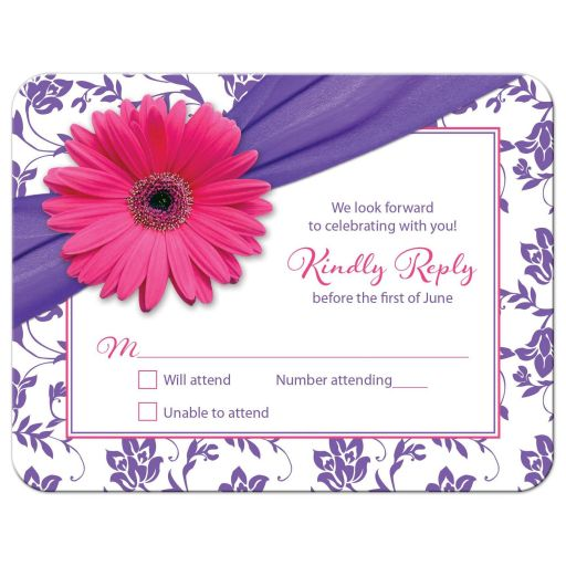 Pink and purple gerbera daisy floral damask Bat Mitzvah RSVP card front
