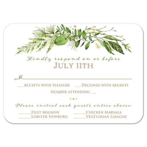 ​Greenery wedding RSVP reply response enclosure card insert with assorted green watercolor foliage, leaves, stems and boughs in a swag arch shape on a white background