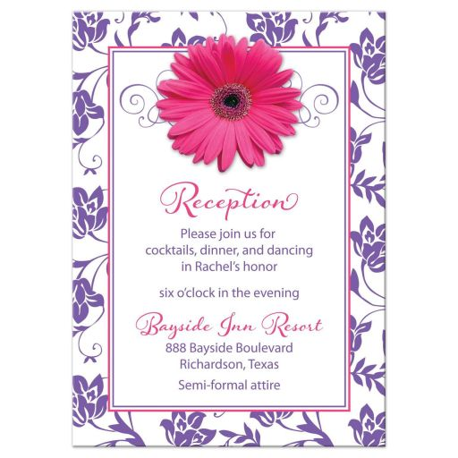 Purple Pink Daisy Damask Bat Mitzvah Reception Card