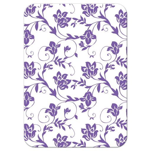 Pink and purple gerbera daisy floral damask Bat Mitzvah reception insert card back