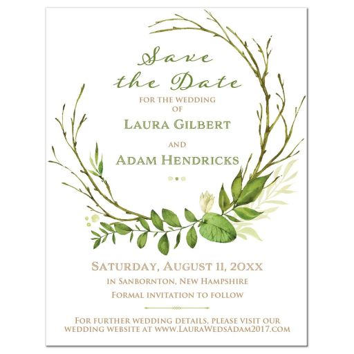 Greenery and white wedding save the date card, green and white leaves wedding save the date cards, green and white foliage wedding save the dates, greenery wedding theme, white wedding invites with green leaf wreath, wedding invitations with green foliage, green wreath wedding invites, green and white wreath wedding invitations, affordable wedding invitations, green leaf wedding invites, green and white wedding invite, fresh wedding invites, wedding invitations with green leaves
