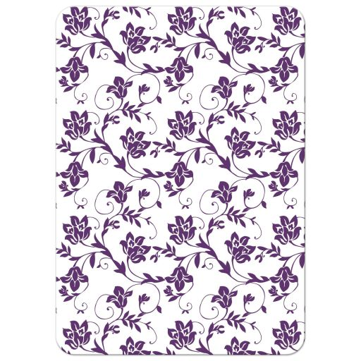 Purple and yellow sunflower floral damask Bat Mitzvah invitation back
