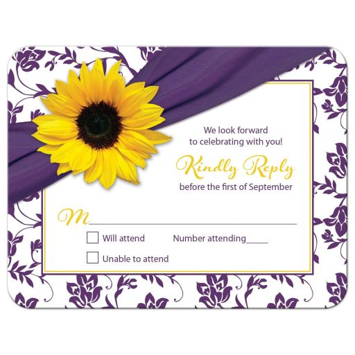 Purple and yellow floral damask Bat Mitzvah RSVP card front