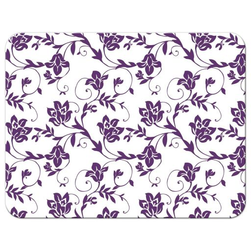 Purple and yellow floral damask Bat Mitzvah RSVP card back