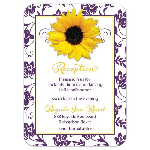 Purple and yellow sunflower floral damask Bat Mitzvah reception party insert card front