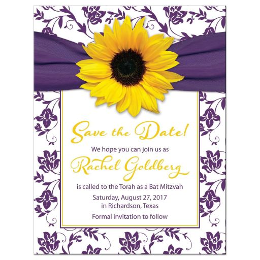 Purple and yellow sunflower floral damask Bat Mitzvah save the date announcement front