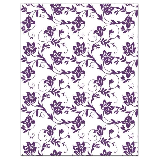 Purple and yellow sunflower floral damask Bat Mitzvah save the date announcement back