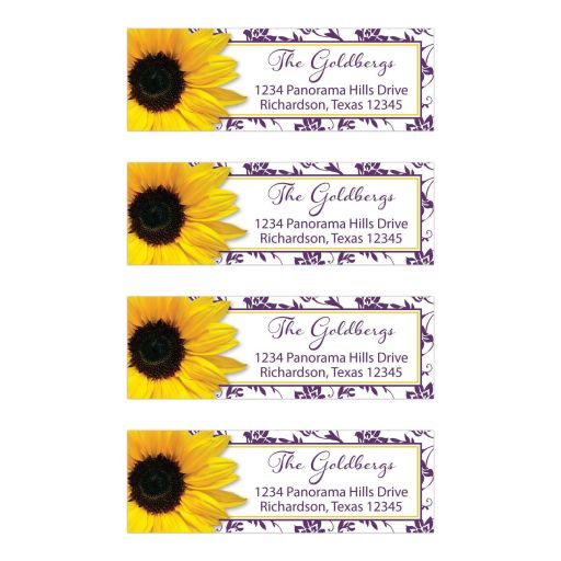 Purple yellow sunflower floral damask Bat Mitzvah return address mailing labels