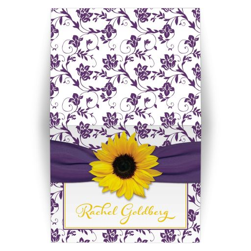 Purple and yellow sunflower floral damask Bat Mitzvah thank you card