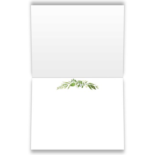 Greenery wedding thank you card with assorted green watercolor foliage, leaves, stems and boughs on two swags on a white background with Kraft paper look backing.