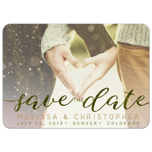 Bokeh Save the Date Photo Announcement Card