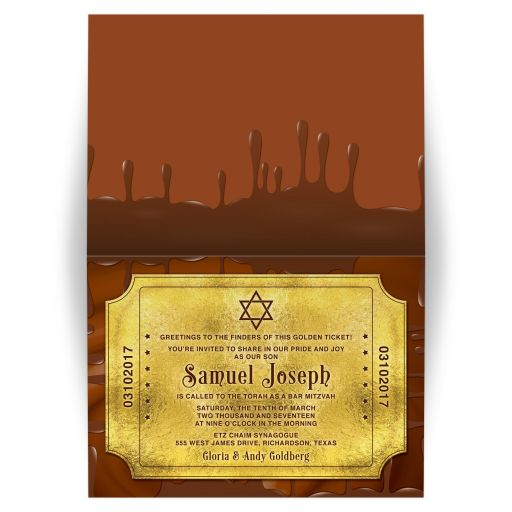 Chocolate golden ticket Bar Mitzvah folded invitation front and back