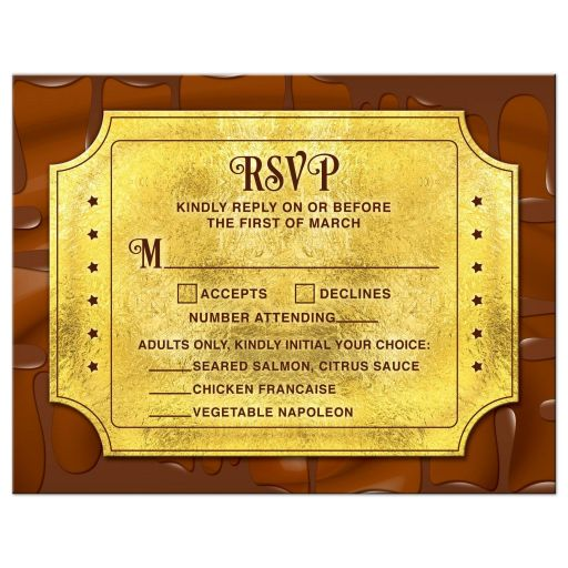 Chocolate golden ticket Bar Mitzvah RSVP postcard front