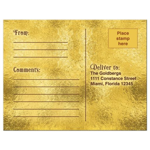 Chocolate golden ticket Bar Mitzvah RSVP postcard back