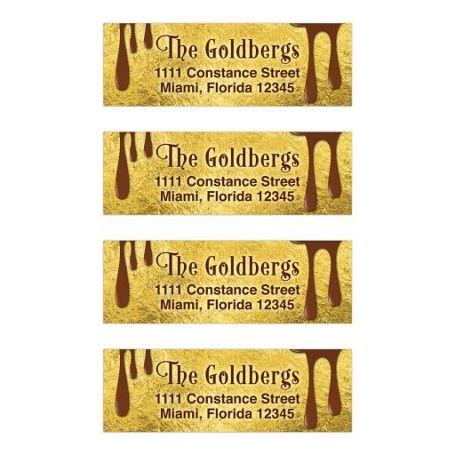 Brown and gold foil chocolate Bar Mitzvah address labels