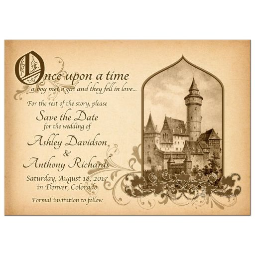 Beautiful vintage medieval castle fairy tale once upon a time wedding save the date announcement front
