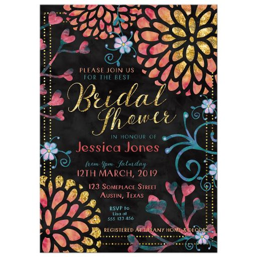 Bright floral Bridal Shower Invitations