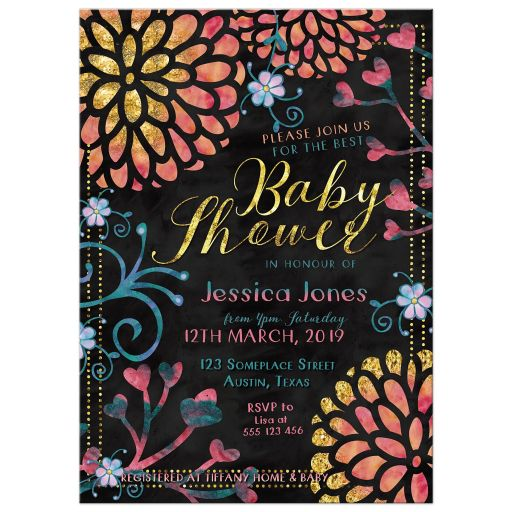 Bright Bold Floral Pink and Gold Baby Shower Invitation