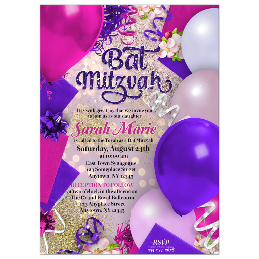 Bat Mitzvah Invitation with pink and purple balloons and decorations