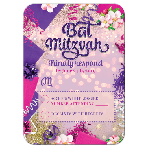 Pink Purple Bat Mitzvah Response RSVP Card