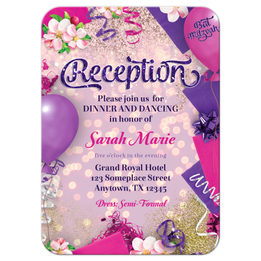 Pink Purple Bat Mitzvah Party Reception Card
