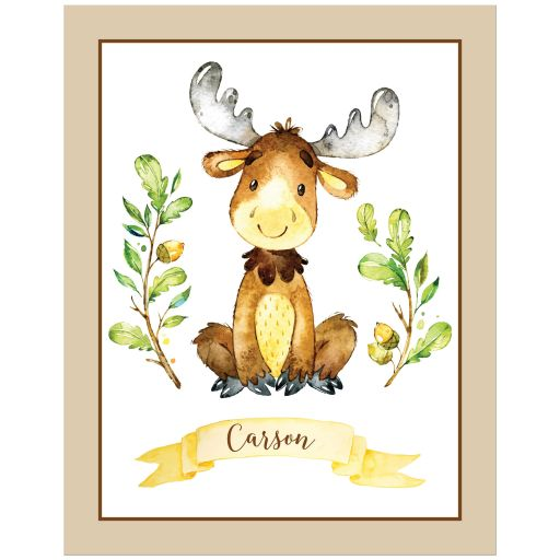 ​Personalized cute woodland moose animal art print in green, brown, and yellow watercolors with ribbon banner with name.