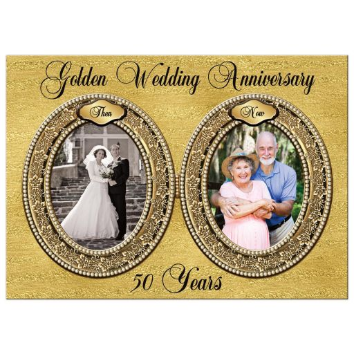 Double photo template golden wedding anniversary invitation with brown, gold and ivory pearls and filigree pattern with gold foil and ornate scrolls.