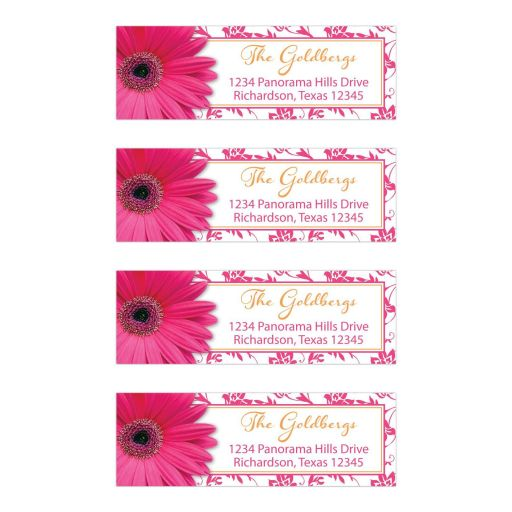 Orange floral damask and hot pink daisy Bat Mitzvah address labels