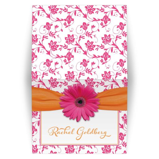 Orange and hot pink daisy, floral damask and ribbon Bat Mitzvah thank you card
