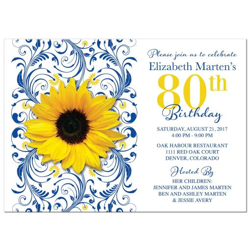 Royal blue floral and yellow sunflower 80th birthday invitation front