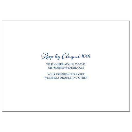 ​Royal blue floral and yellow sunflower 80th birthday invitation back