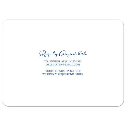 Royal blue floral and yellow sunflower 80th birthday invitation back