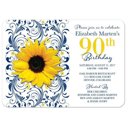 Navy blue and yellow sunflower floral 90th birthday invitation front