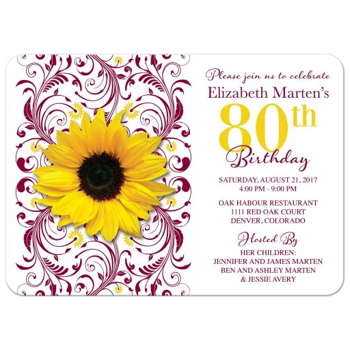 Burgundy floral and yellow sunflower flower 80th birthday invitation front