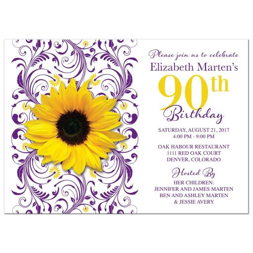 Purple floral, yellow sunflower flower 90th birthday invitation front