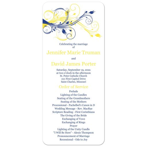 Royal blue, yellow and white abstract floral wedding program.