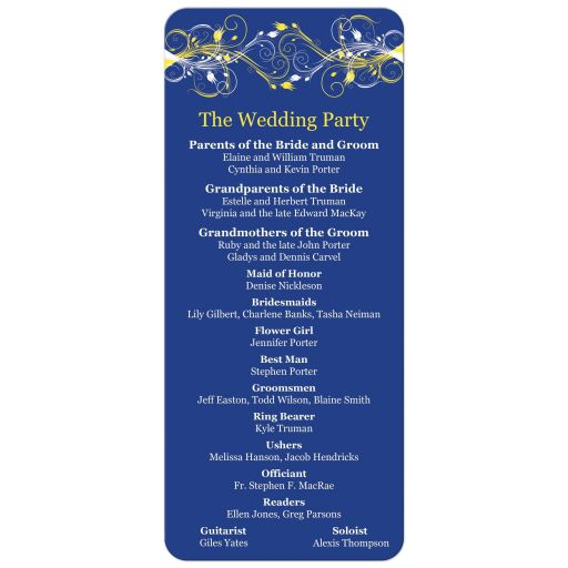 Royal blue, yellow and white abstract floral wedding ceremony order of service.