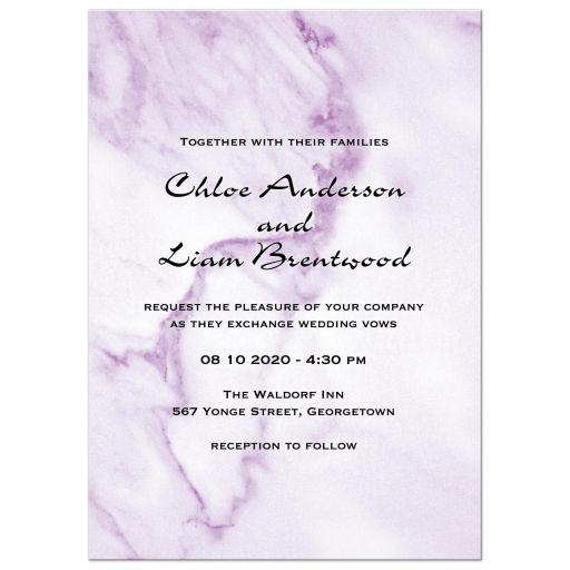 Violet Marble Wedding Invitation