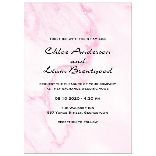 Pink Marble Wedding Invitation