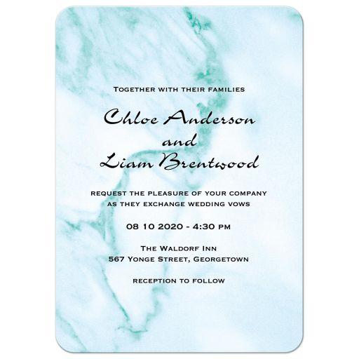 Aqua Marble Wedding Invitation