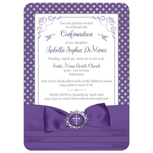 Purple, silver grey, white polka dots Confirmation invitation with ribbon, bow, doves and Cross.