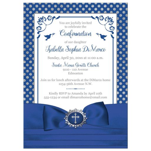 Royal blue, silver gray, white polka dots Confirmation invitation with ribbon, bow, doves and silver Cross.