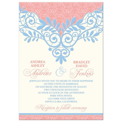 Elaborate and unique coral, powder blue, and ivory vintage lace wedding invitation front