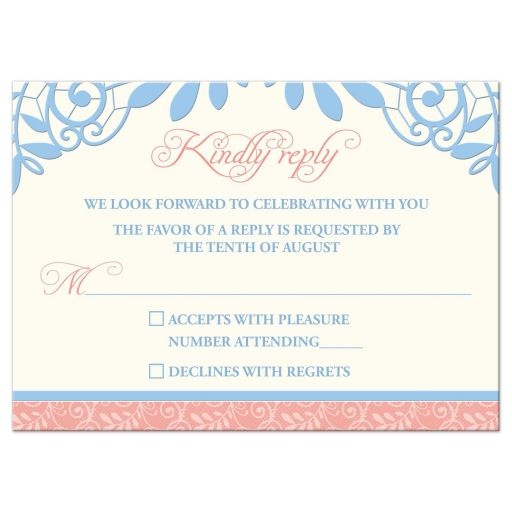 Unique coral, powder blue, and ivory vintage lace wedding rsvp card front